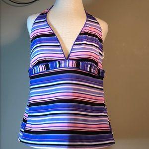 NIKE stripe halter style tankini swimsuit top
